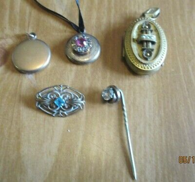 Lot of 5 Antique Victorian Jewelry: 3 Lockets, 2 pins