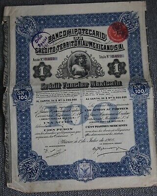 Emprunt Action Obligation Banco Mexicano Mexique 1908 100 Piastres Mexicaines