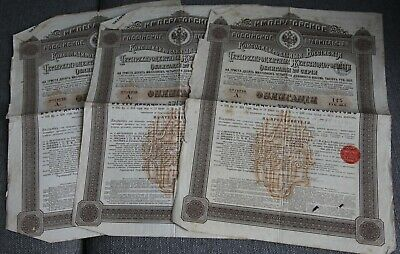 Lot De 3 Emprunt Action Obligation 120 Roubles Or Chemin De Fer Russe 1889
