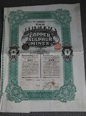 Emprunt Action Obligation Huelva Copper And Sulphur Mines 1912