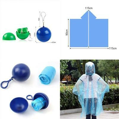 Disposable Emergency Waterproof Keyring Ball Rain Coat Poncho Rainwear CF