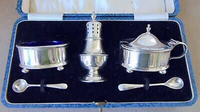 Lovely Antique Sterling Silver Condiment Set 1926, Boxed