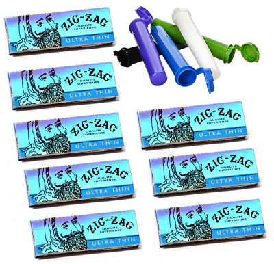 8 Booklets Zig Zag Ultra Thin 1 1/4 Rolling Cigarette Papers + Free Tubes