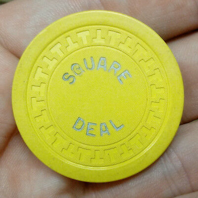 Old SQUARE DEAL Gambling $5.00 Unknown CASINO CHIP Chicago ILLEGAL Las Vegas