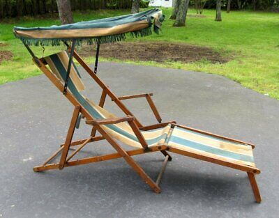 Antique Victorian Titanic Era Folding Wood Canvas Canopy Lounge Beach Chair