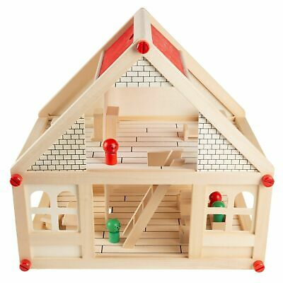 15 Inch 2 Story Wooden Dollhouse Playset with Furniture Mini People Accessories