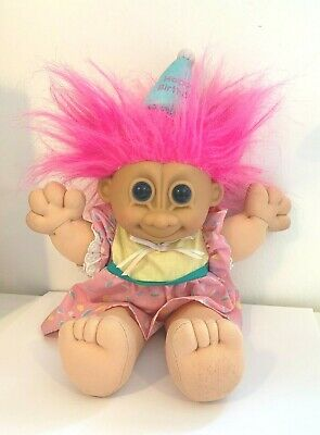 Vintage Russ Troll Doll Plush Toy Happy Birthday Soft Bodied Pink Retro Gift