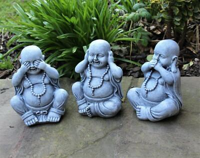 Garden Ornaments Large Wise Happy Buddha Decoration Hear See Speak No Evil 3