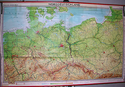 Schulwandkarte Map North Germany Pomerania East Prussia West 1973 239x154