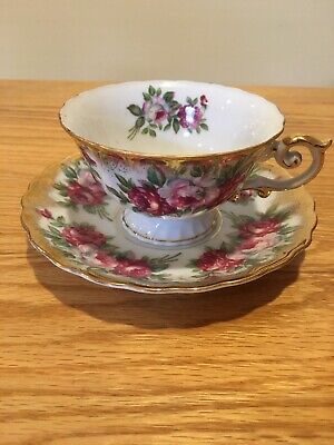 Ucagco china Tea cup and saucer Rose Pattern With Gold Trim
