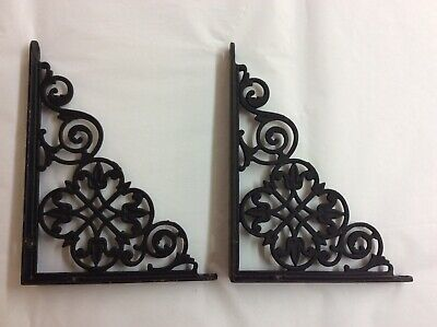 """Pair of Early Antique Shelf Brackets - Wrought Iron - Tulip Pattern- 6"""" by 8"""""""