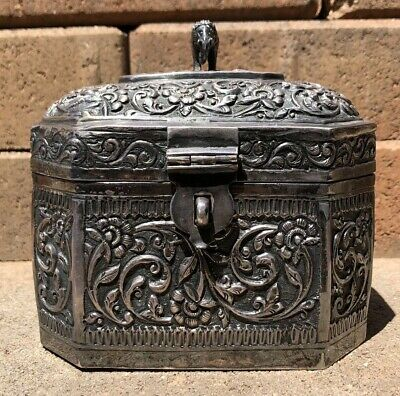 Antique Chinese Sterling Silver Chased Engraved Repousse Elephant Tea Caddy Box