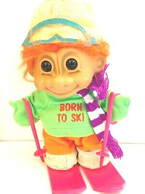 Vintage RUSS Troll Doll Toy Born To Ski - Skier - Extra Large 10 inch Retro Gift
