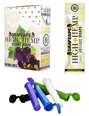 High Hemp Organic Wrap 25 Pouches Full Box 50 Wraps ( GRAPE APE ) + FREE TUBES