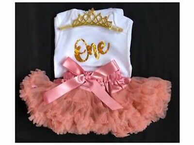 Girls 1st First Birthday Outfit Cake Smash Outfit Peach Tutu Skirt Vest & Tiara
