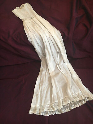 Victorian Christening baby gown in sheer cotton organdy + lace w. flowers