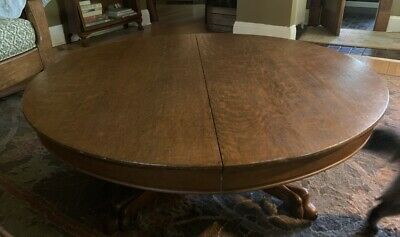"""Antique Solid Oak Arts & Crafts Style 48"""" Pedestal COFFEE Table - Pick Up Only"""