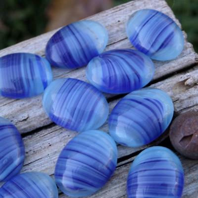 Vintage Glass Cabochons Cabs ~ Blue Striped Oval For Mosaics Crafts Jewelry