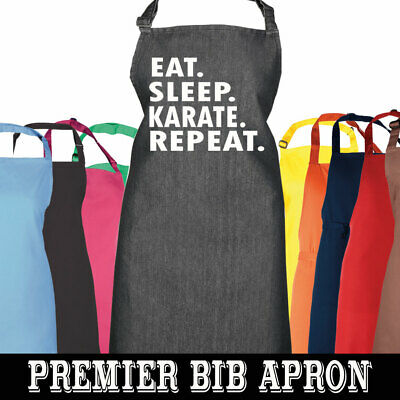 Eat Sleep Karate Repeat Apron Novelty Kitchen Chef Cook Dad Mum Cooking Gift