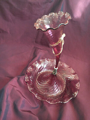 "Victorian Antique Cranberry Glass Epergne w, Swirling, h. 15"" sleek and festive"