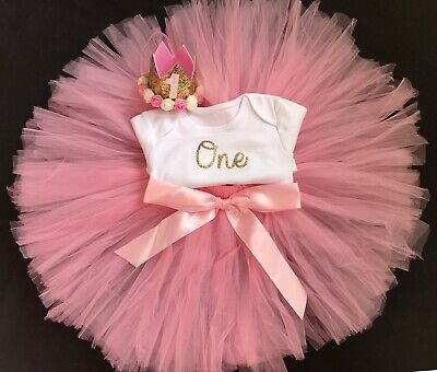 Girls First Birthday Outfit Pink Tutu Skirt Cake Smash Set Birthday Dress Crown