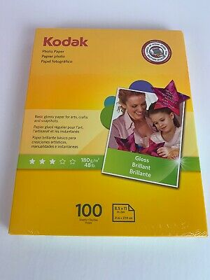 Kodak Instant Dry 6 Mil Glossy Finish Photo Paper Letter Size 100 Sheets Pack