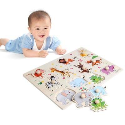 Baby Kids Animal Puzzle Wooden Animal Jigsaw Early Learning Educational Toys CF