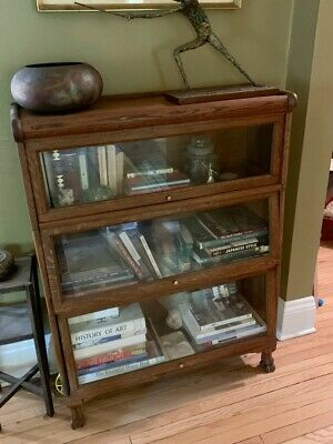 Lovely Antique Solid Oak Arts & Crafts Style Barrister Bookcase - Pick Up Only