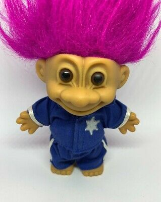 Vintage Russ Troll Doll Toy Police Man Woman Officer Cop Cute Retro Gift