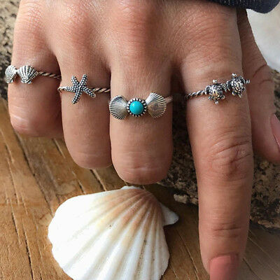 4pcs Cocktail Ring Set Shell Hollow Shell Leaf Turquoise Rings For Women CF