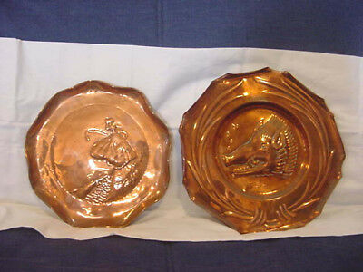 2 Vintage / Antique COPPER Plates ARTS & CRAFTS Ye Boars Head + SHEPHERDESS Boat