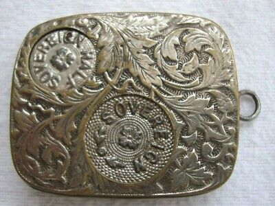 Antique Embossed Nickel Silver Plated Coin Case Holder Sovereign Half Sovereign