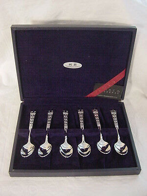 Set 6 TEASPOONS Boxed YAMACO SILVER 950 Japan ATHENS Coffee FINE Sterling Spoon