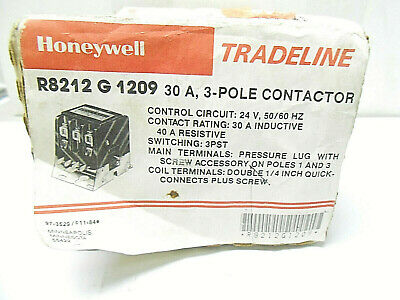 Rb212G-1209 Honeywell 3 Pole Contactor, 60 Hz / 25 Amps/ 208 Volts New Old Stock
