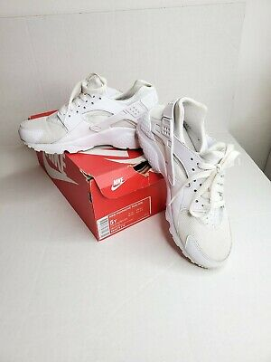 Nike Size 5Y Huarache Run (GS) Big Kid Shoes 654275-110 White/Platinum Pre-owned