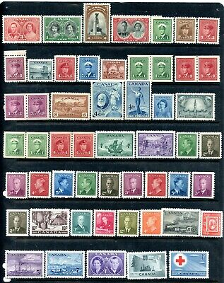Weeda Canada 237//317 VF MNH 1937-52 issues, with coil pairs CV $122