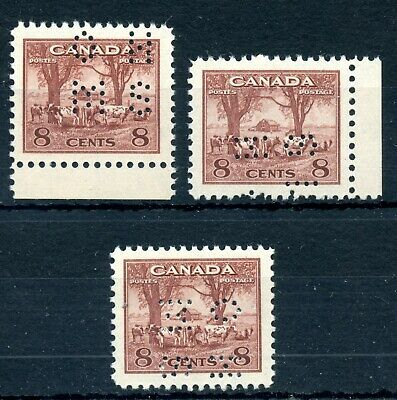 Weeda Canada O256 VF MNH trio of 4-hole OHMS perfins different positions CV $60+