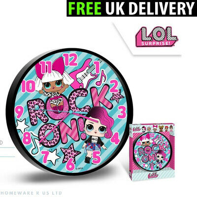 Girls Lol Surprise Bedroom Wall Clock 25 Cm Pink  Bedroom Quilt Time Rock On