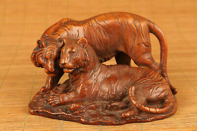 big chinese old boxwood hand carved love tiger statue figure collectable antique