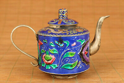 decoration  Chinese old cloisonne copper royal qing dragon tea pot