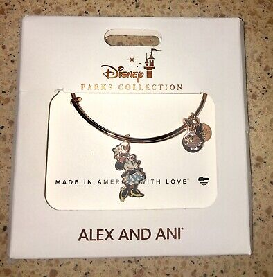 New | Disney Alex and Ani Classic Minnie Mouse Rose Gold Bangle Bracelet