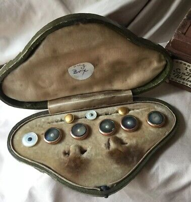 Rare Antique Victorian Art Nouveau 10K Gold Cufflink Shirt Stud Buttons Pair Set