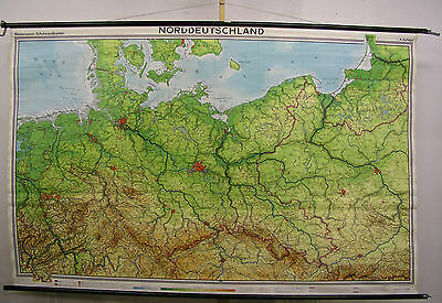 Schulwandkarte Map North Germany Pomerania East Prussia West 1970 240x154