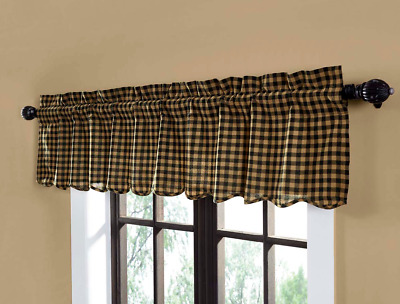"BLACK KHAKI CHECK Scalloped Window VALANCE Farmhouse Rustic Primitive 72"" Cotton"