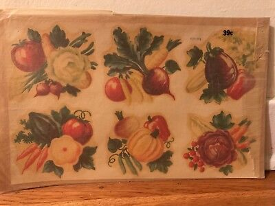 Vintage Meyercord decal fall harvest vegetables produce pumpkin new old stock