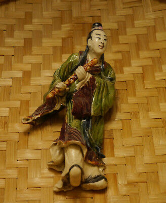 Vintage Chinese Authentic Glazed Ceramic Temple Figurine/Statue Scholar/Musician
