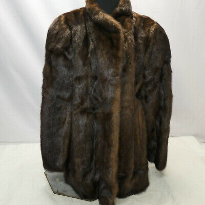 Vintage Womens REAL FUR COAT Brown Winter Jacket Clothing Size 8-12 #6