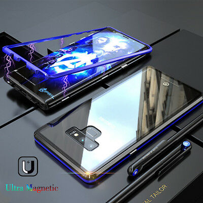 COVER CUSTODIA MAGNETICA ALLUMINIO VETRO TEMPERATO SAMSUNG GALAXY S8 S9Plus NOTE