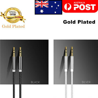 Braided Gold Plated 3.5MM Jack Male To Male Audio Cable AUX Cord For Car Phone👍