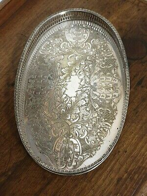 vintage silver plate vinners oval drinks serving  TRAY
